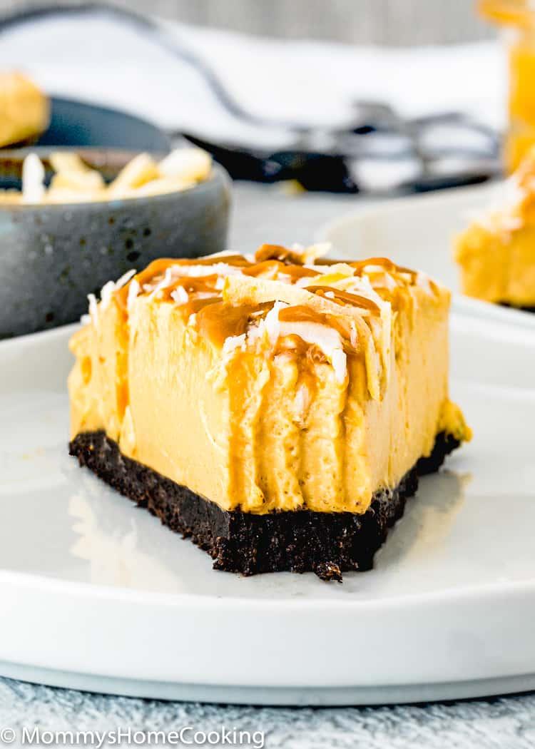No-Bake Eggless Dulce de Leche Cheesecake slice showing creamy texture