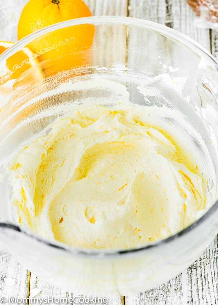 Easy Orange Buttercream in a mixing bowl
