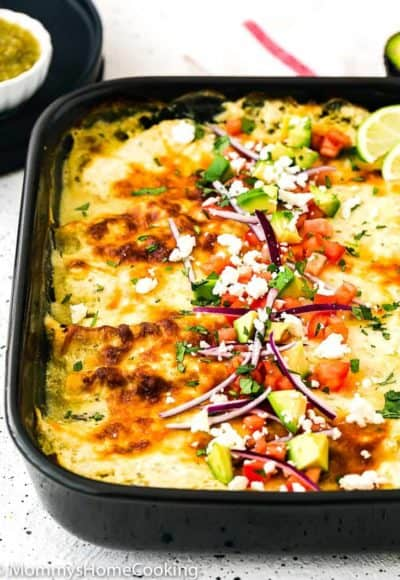 Easy Enchiladas Suizas in a baking dish