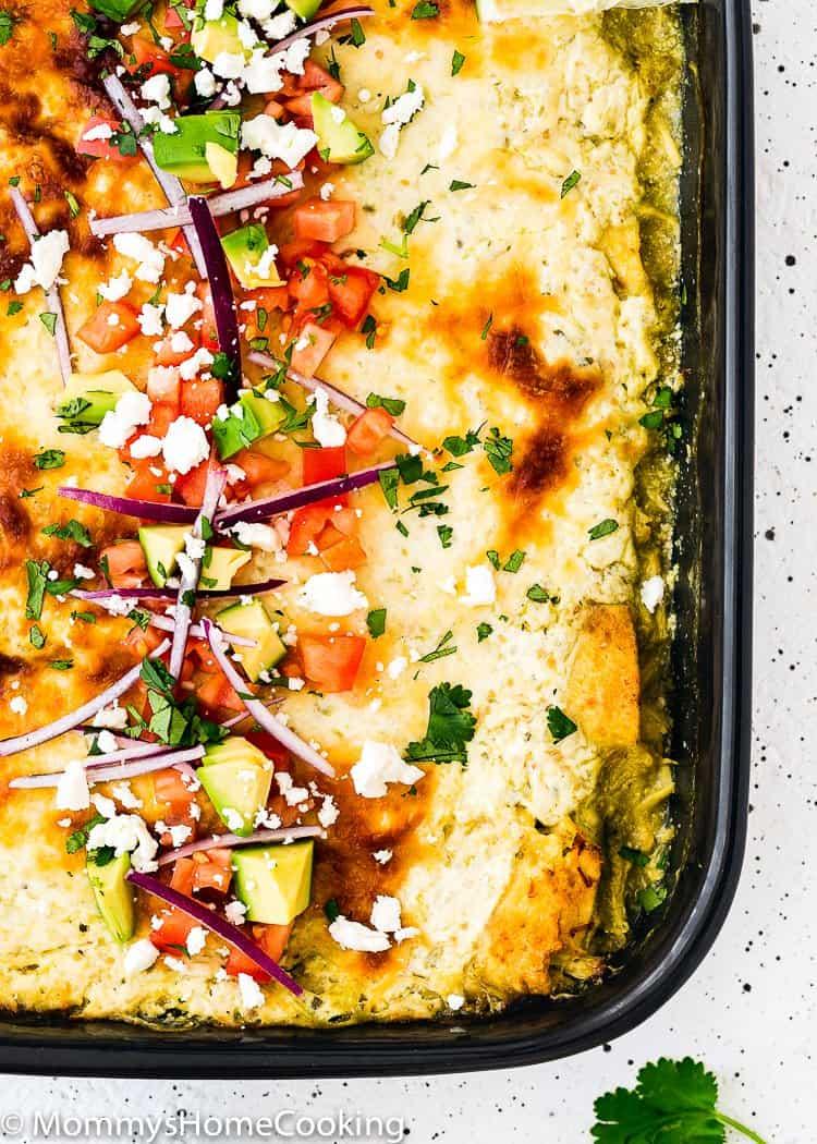 Easy Enchiladas Suizas in a baking dish closeup