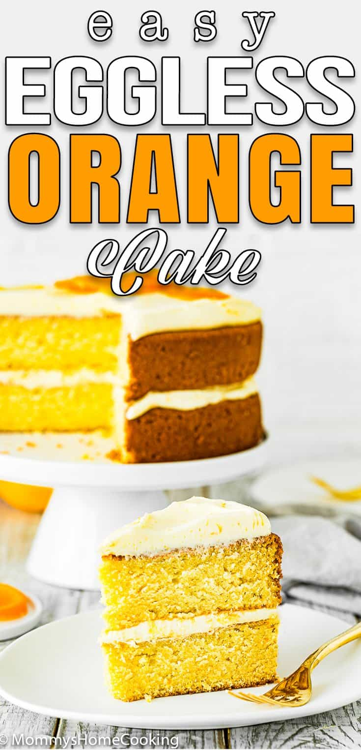 easy eggless orange cake with frosting on a cake stand with overlay text
