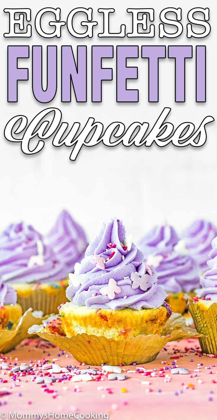easy eggless funfetti cupcakes with purple frosting and sprinkles with text overlay