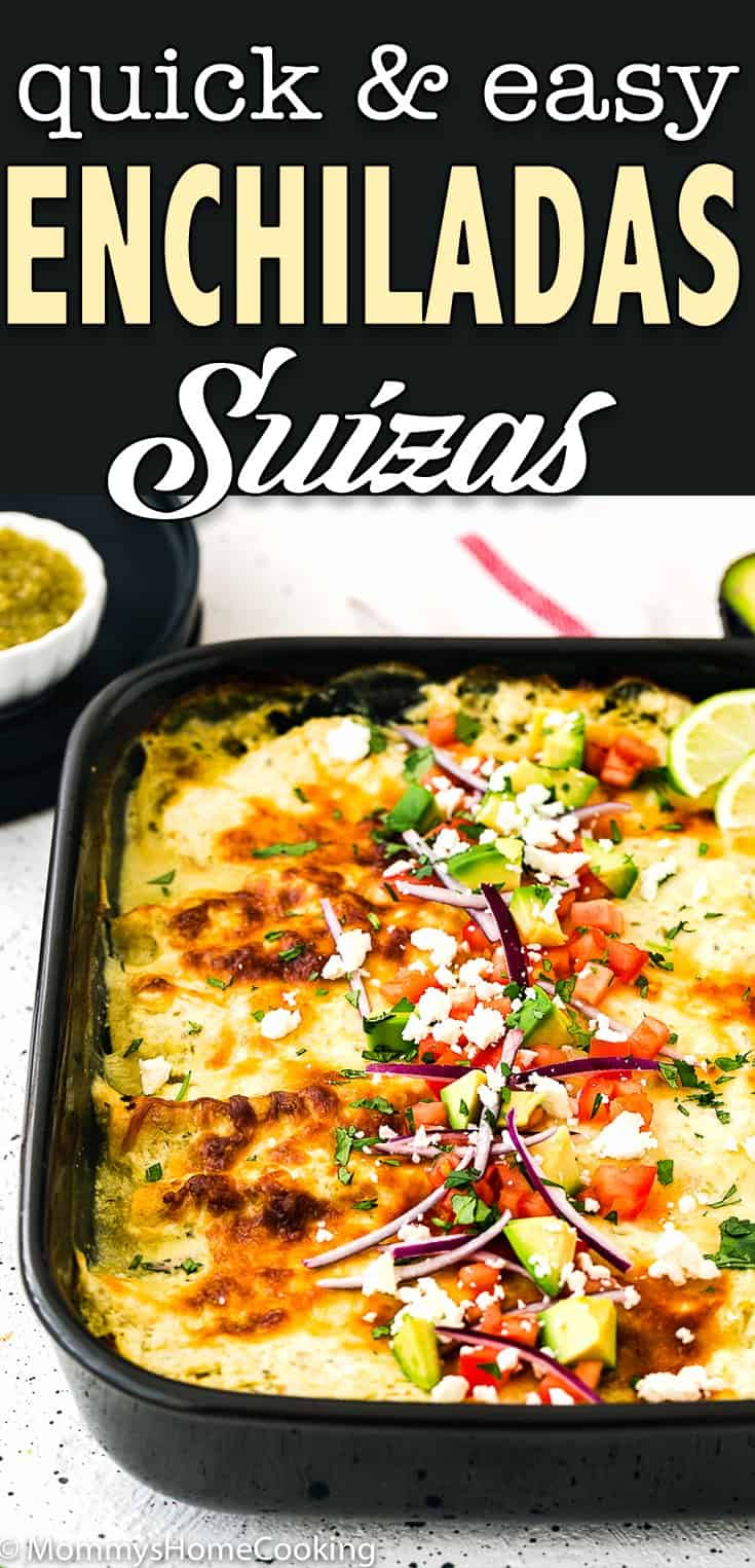 enchiladas suizas in a baking dish with text overlay