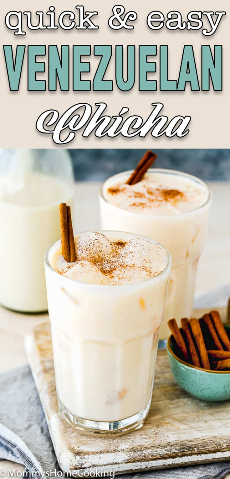 easy traditional Venezuelan chicha in a glass with text overlay