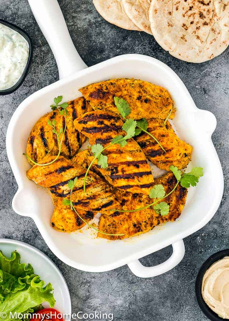 Easy Grilled Chicken Shawarma in a skillet skillet
