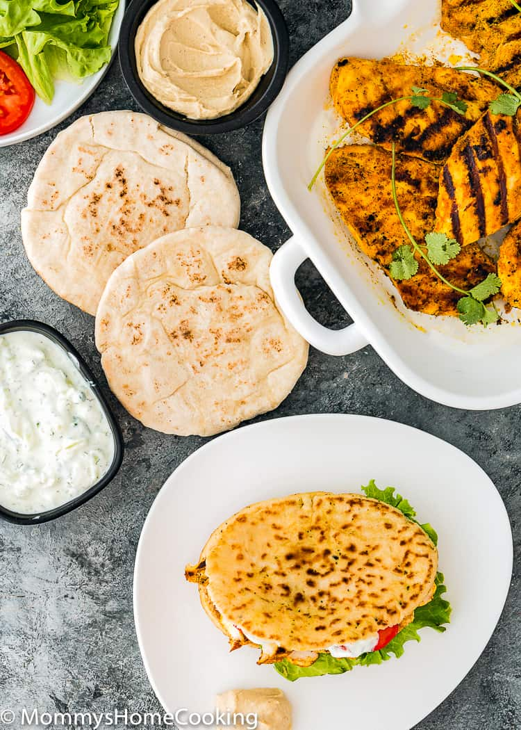 Grilled Chicken Shawarma in a skillet to make pita sandwiches