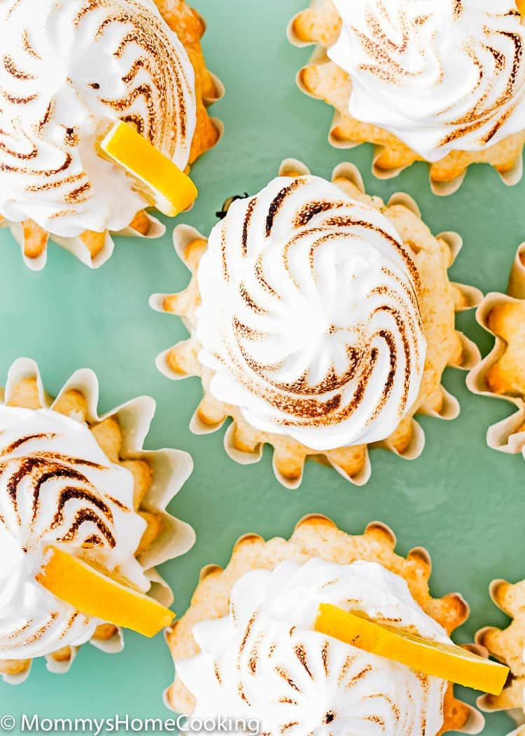 Eggless Lemon Meringue Cupcakes from the top