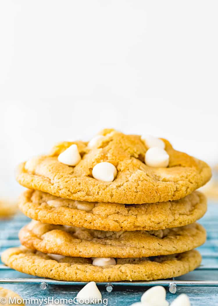 Eggless White Chocolate Chips Cookies stack