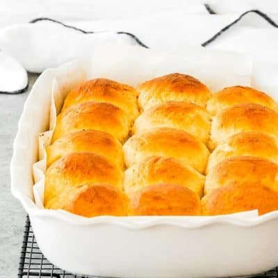 Eggless Homemade Hawaiian Rolls in a baking dish