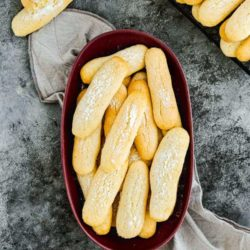 Eggless Lady Fingers (Savoiardi) in a serving plate