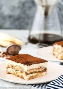 Easy Eggless Tiramisu serving on a plate