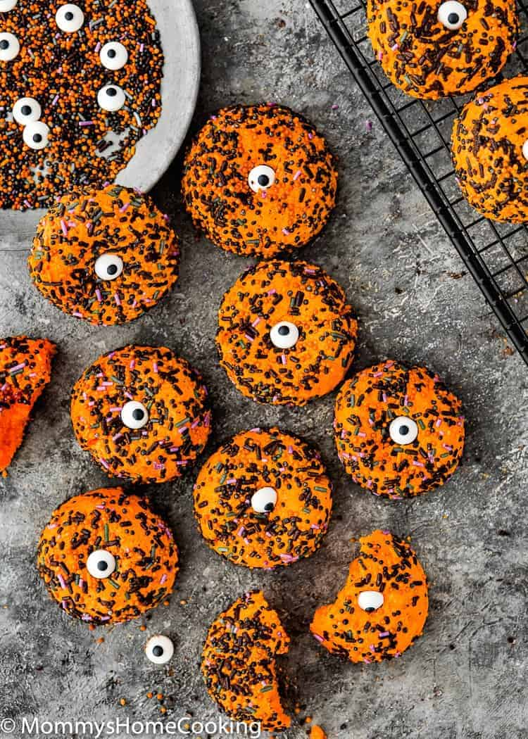 Easy Eggless Halloween Cookies over a gray surface
