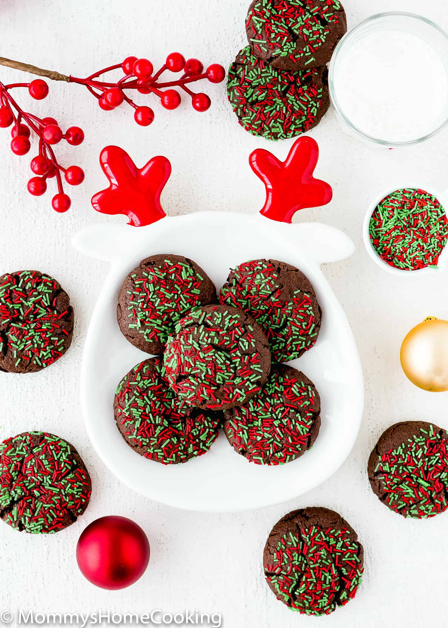 Easy Eggless Cake Mix Christmas Cookies on a plate