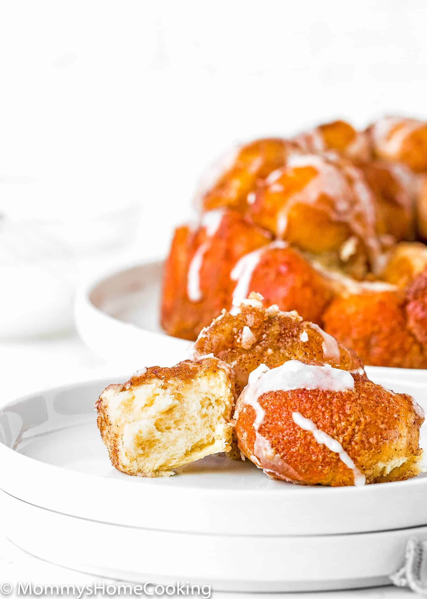 Homemade Eggless Monkey Bread pieces showing the fluffy inside texture
