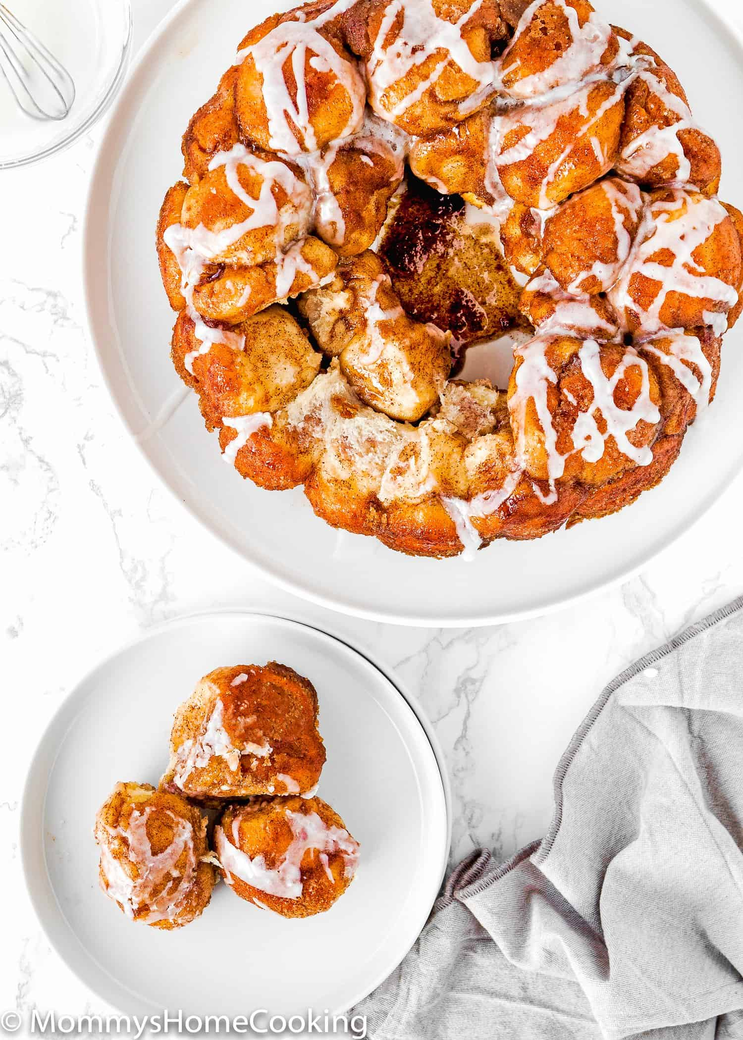 Homemade Eggless Monkey Bread over a marble surface