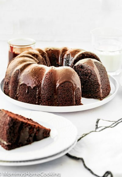 Eggless Chocolate Bundt Cake on a serving plate