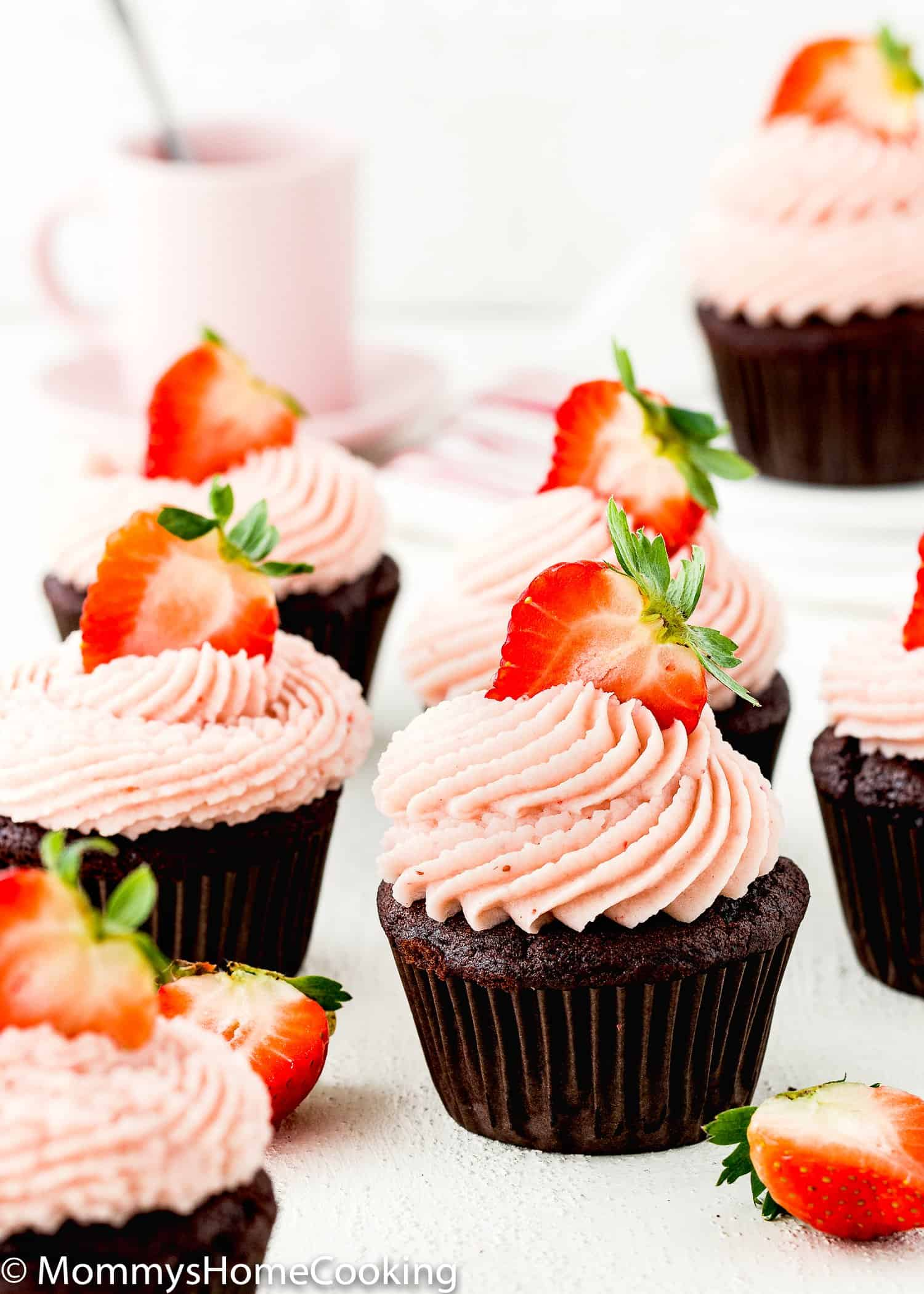 Eggless Chocolate Strawberry Cupcakes with strawberry buttercream and fresh strawberries