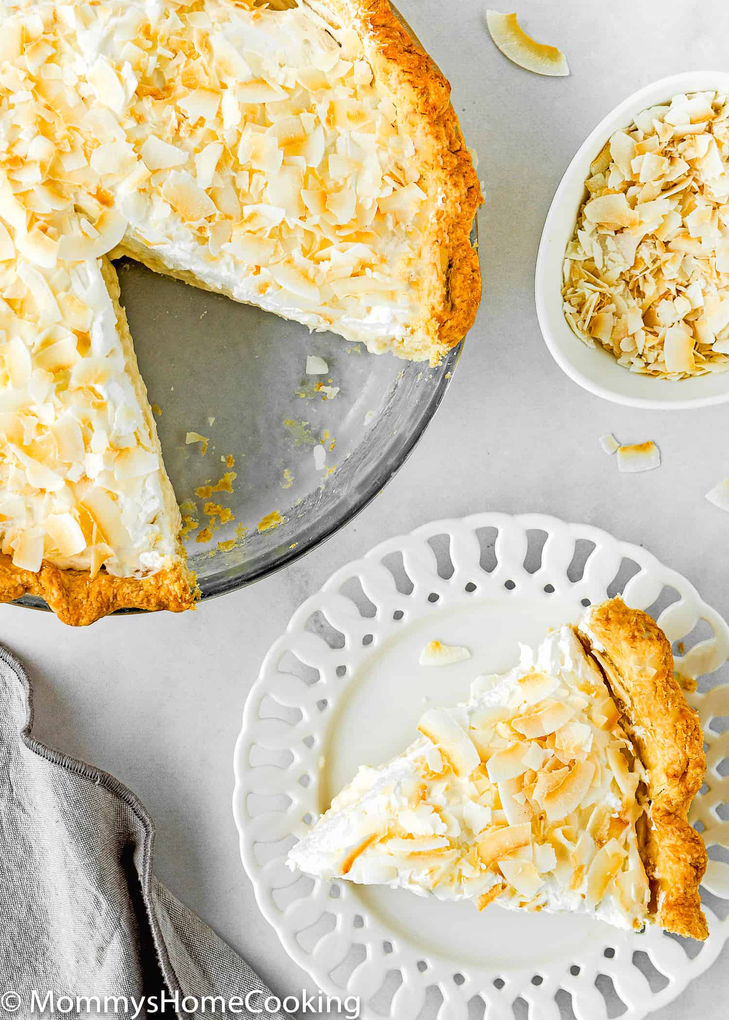 Easy Eggless Coconut Cream Pie sliced