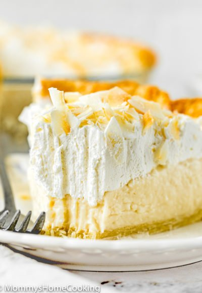 Eggless Coconut Cream Pie slice showing creamy texture