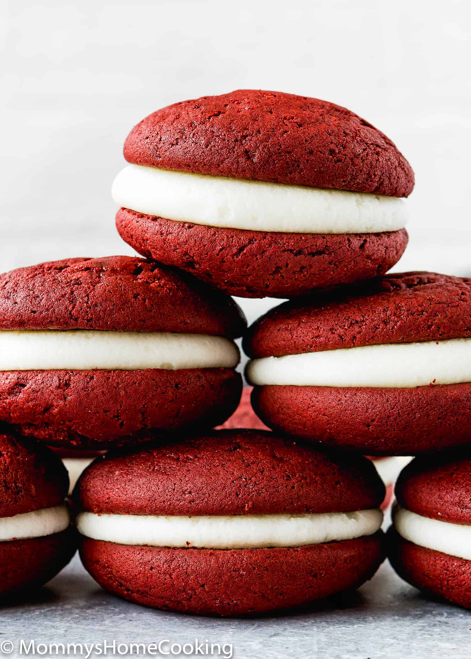 Eggless Red Velvet Whoopie Pies piled up