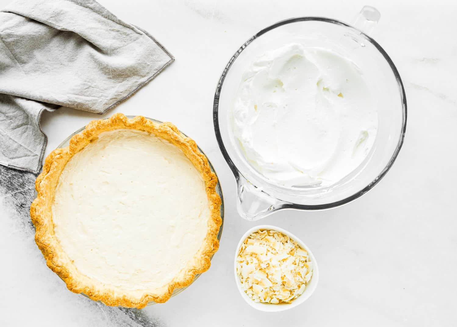 ingredients to decorate a eggless coconut cream pie