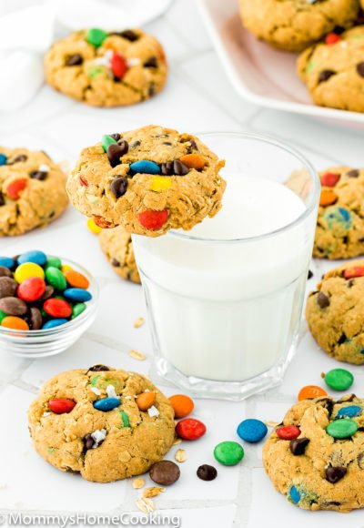 Eggless Monster Cookies with a glass of milk