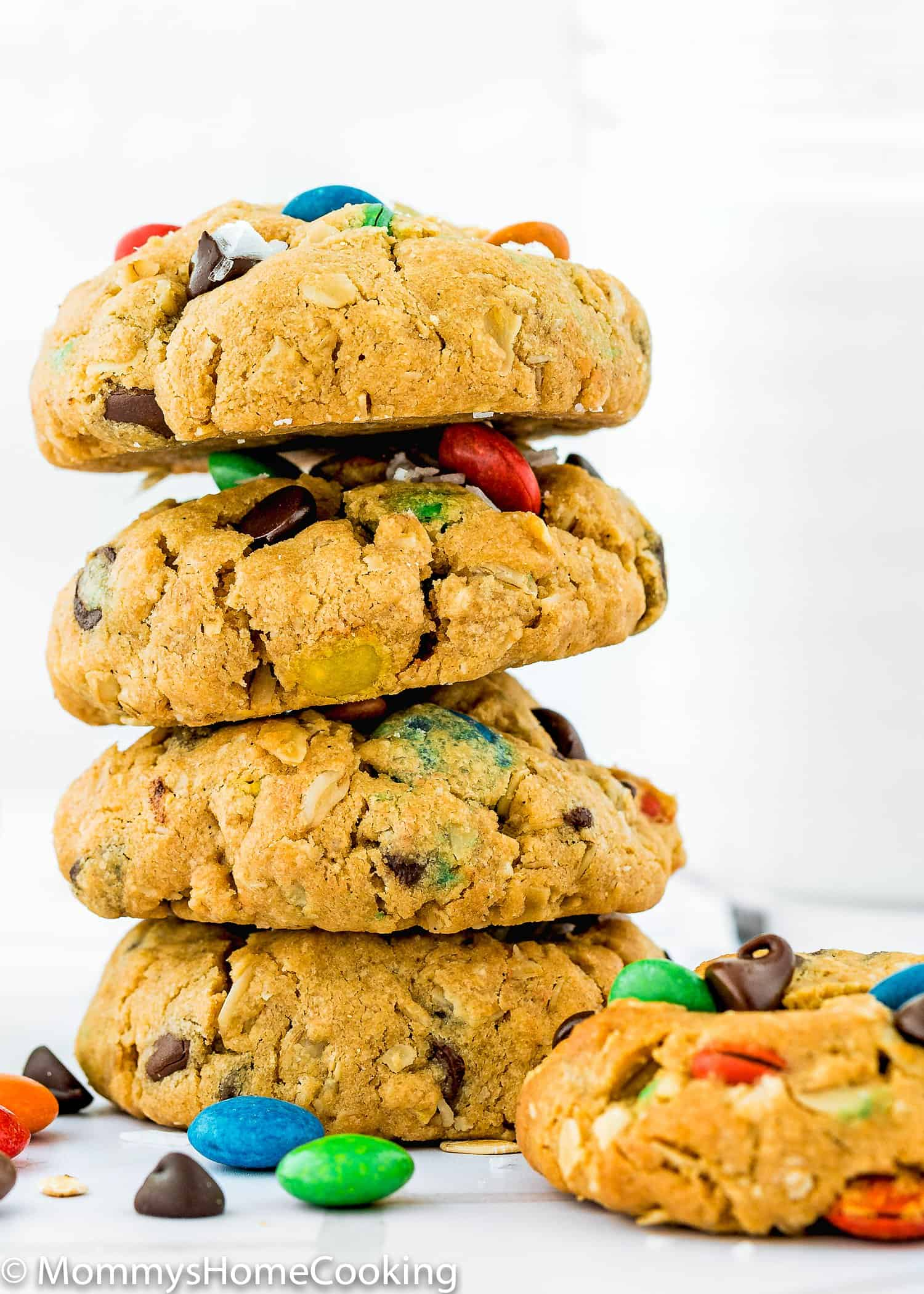 Eggless Monster Cookies stack