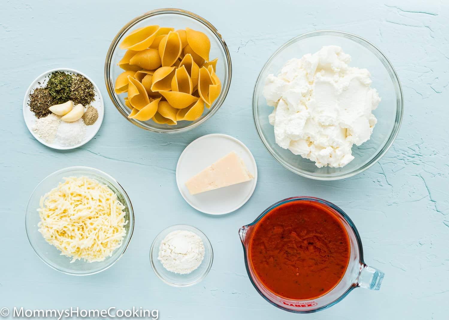 Eggless Ricotta Stuffed Shells ingredients