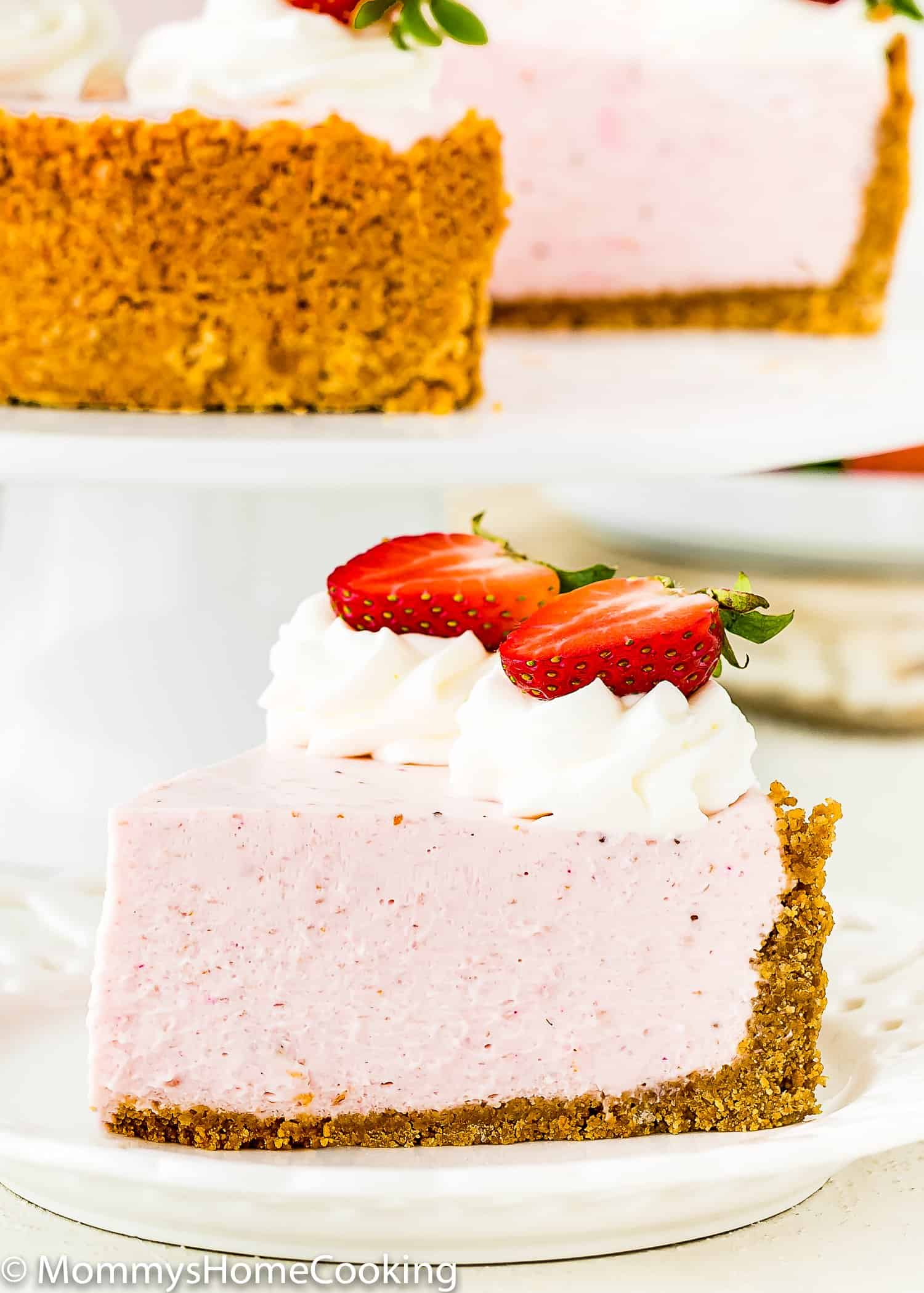 Strawberry Cheesecake slice with graham cracker crust
