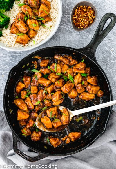 overview of Easy Sticky Bourbon Chicken in a cast iron skillet