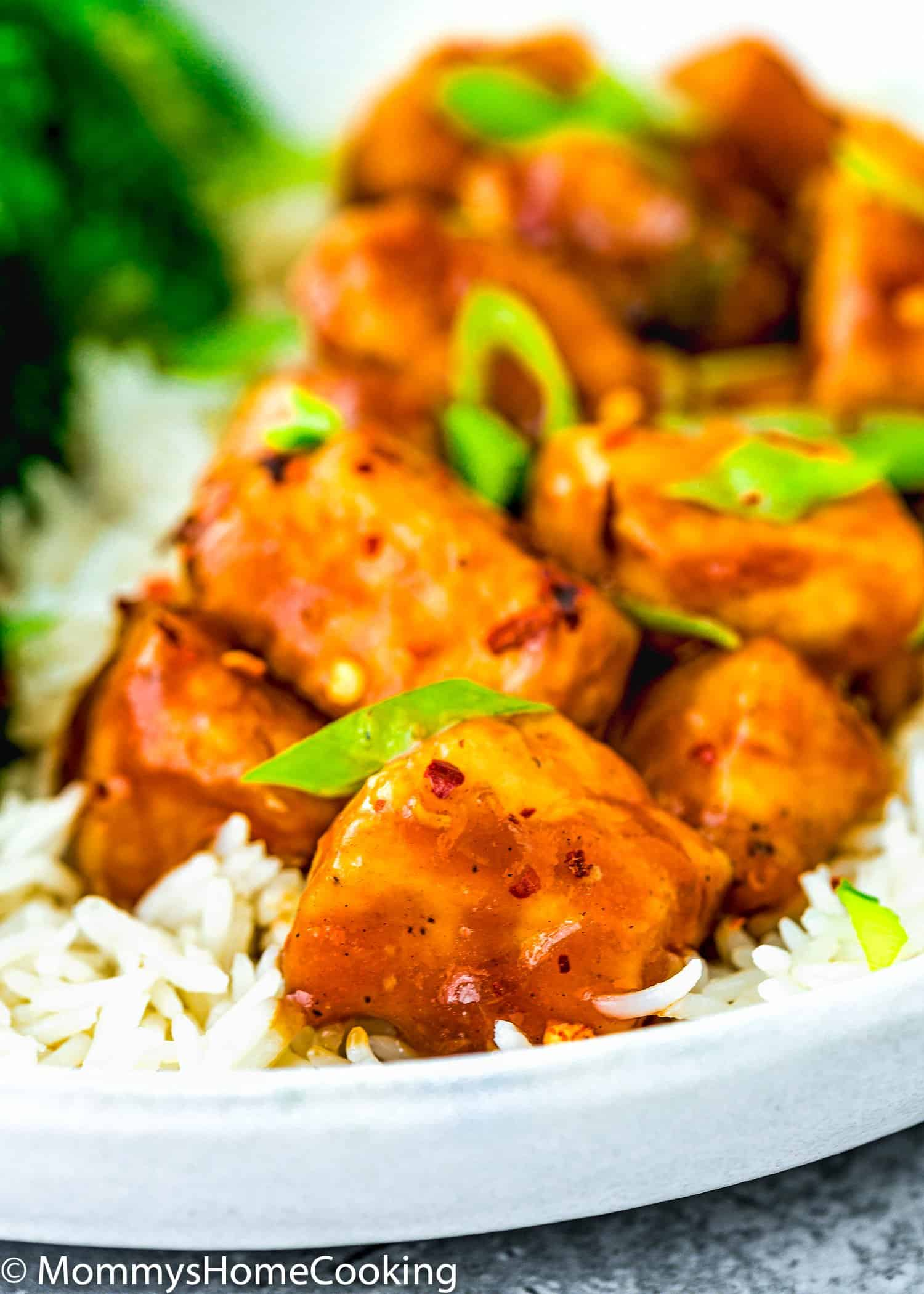 close up of Easy Sticky Bourbon Chicken