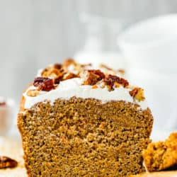 sliced Eggless Carrot Cake Loaf cut showing inside dense and soft texture