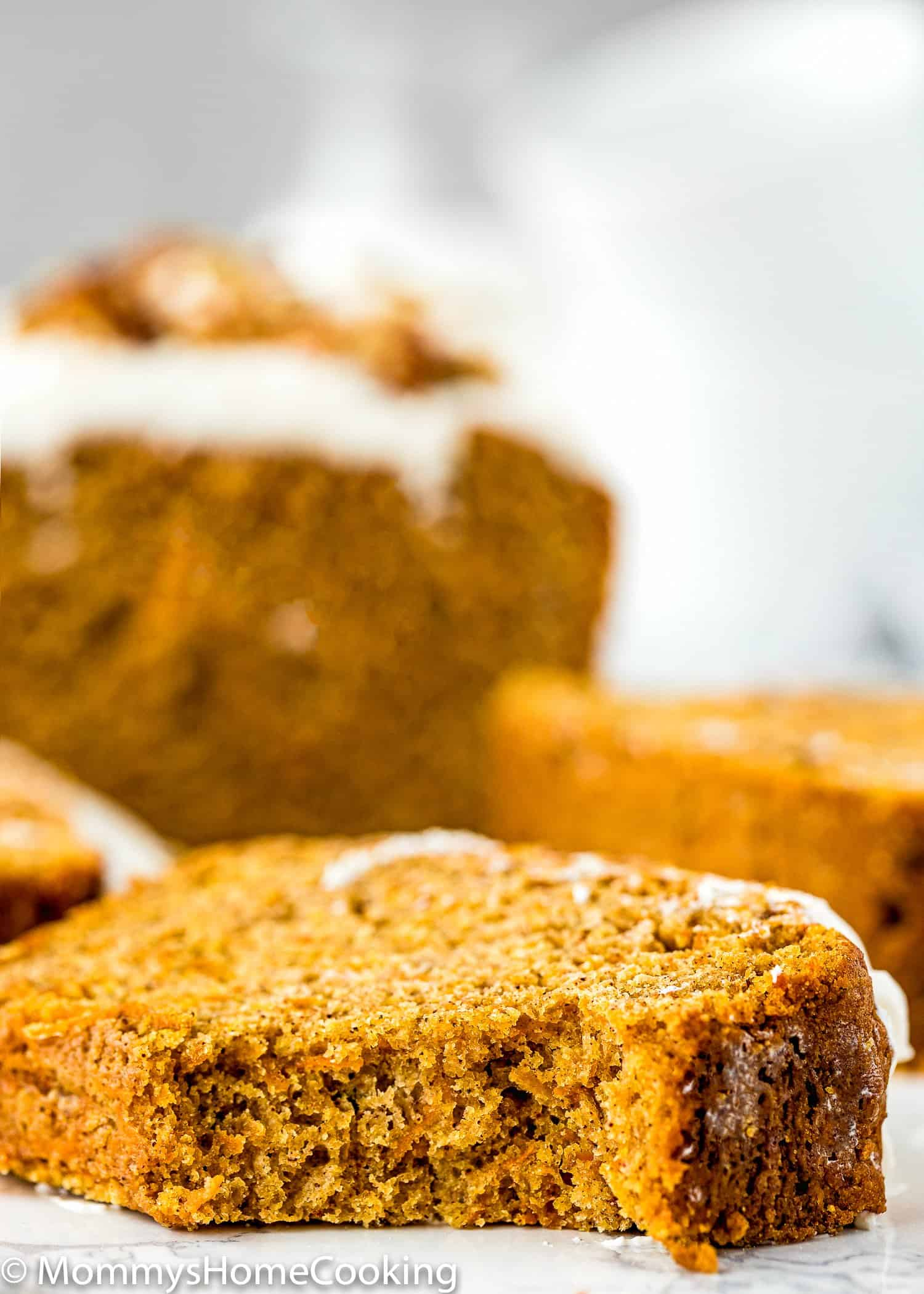 slice of Eggless Carrot Cake quick bread