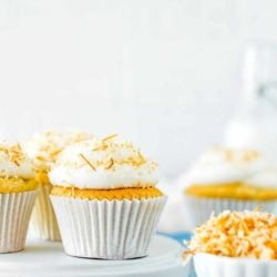 Eggless Coconut Cupcakes over a white plate