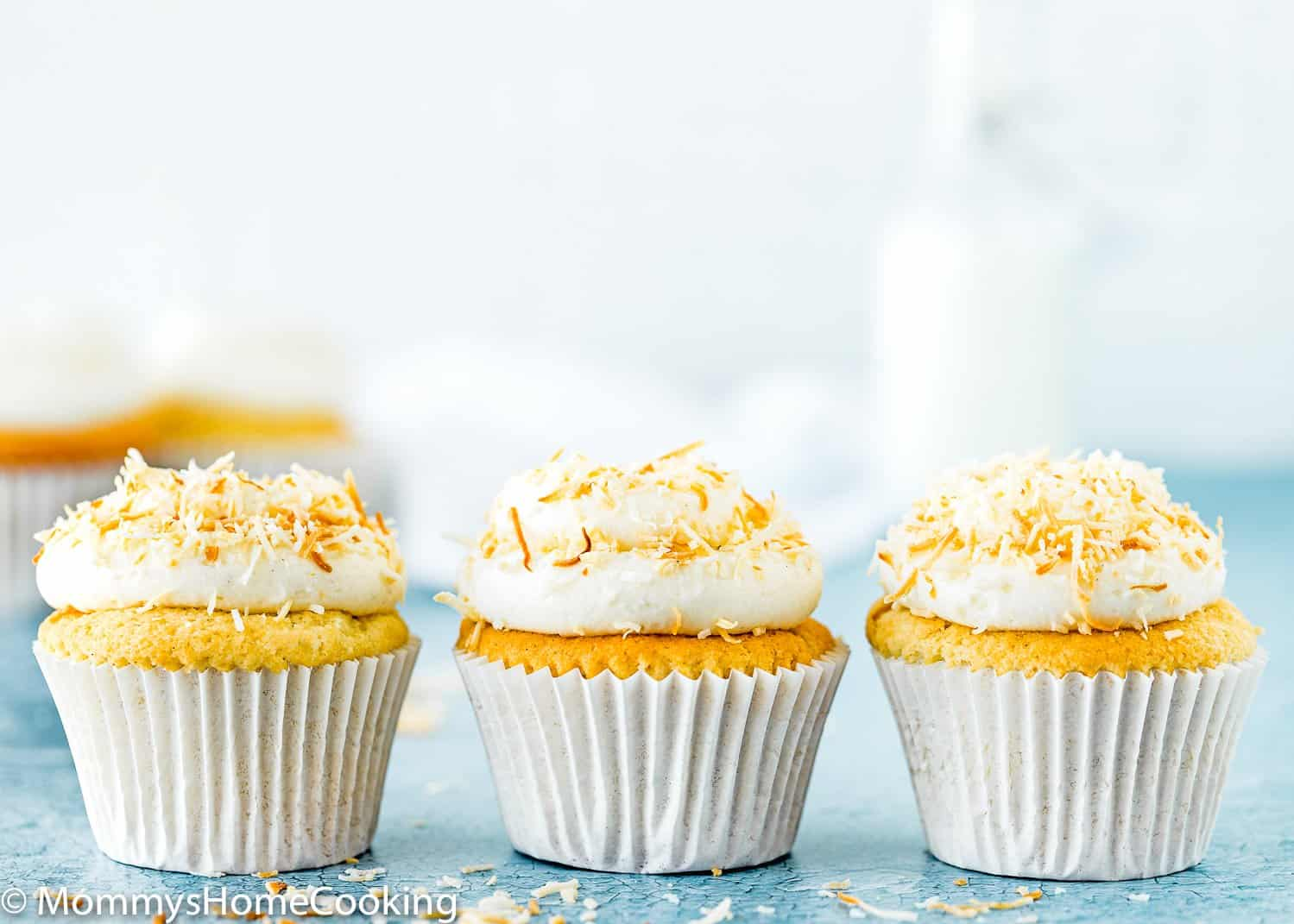 Eggless Coconut Cupcakes with coconut frosting