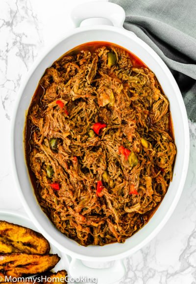 Venezuelan Shredded Beef Carne Mechada in a serving bowl