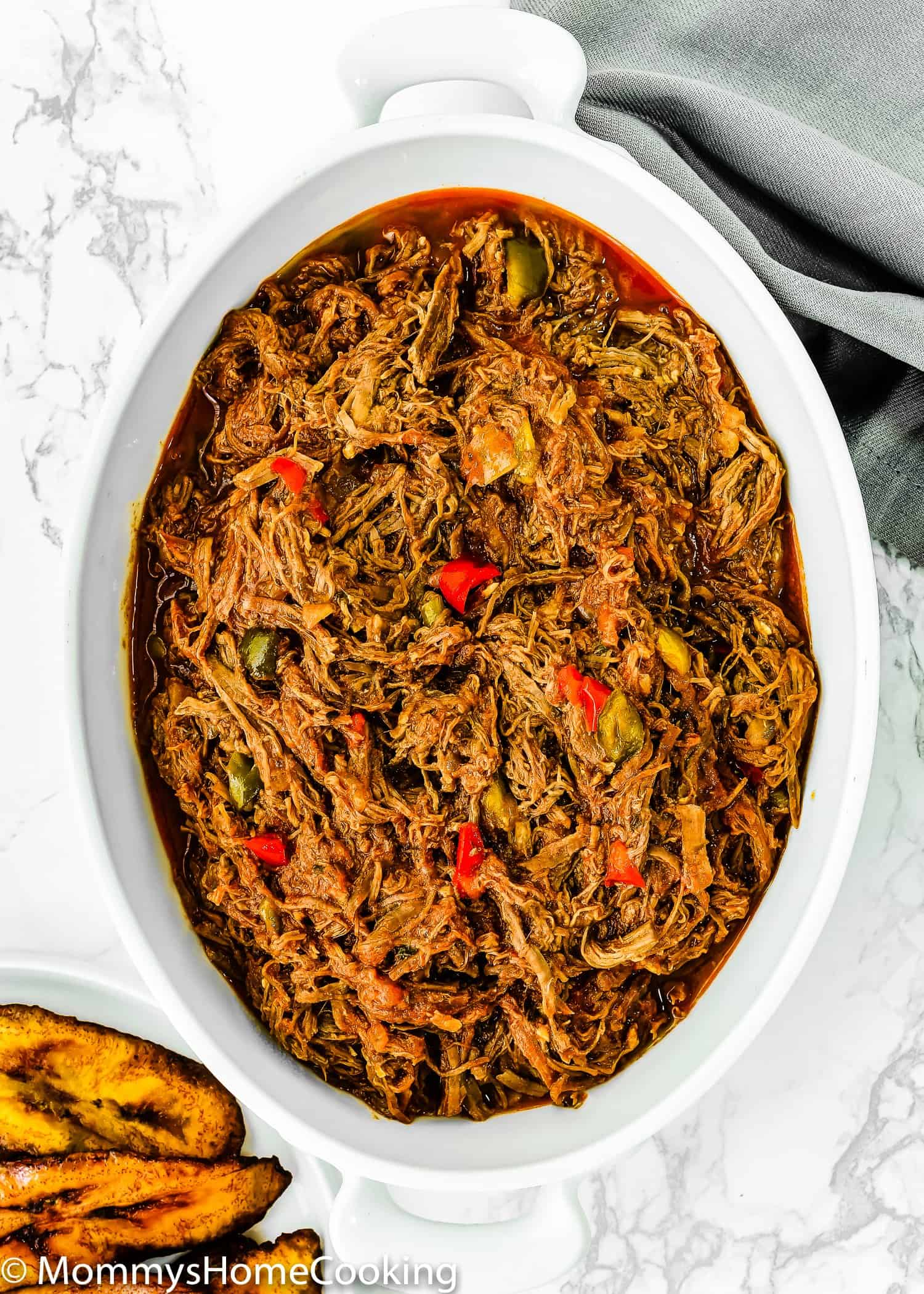 Venezuelan Shredded Beef in a white serving bowl