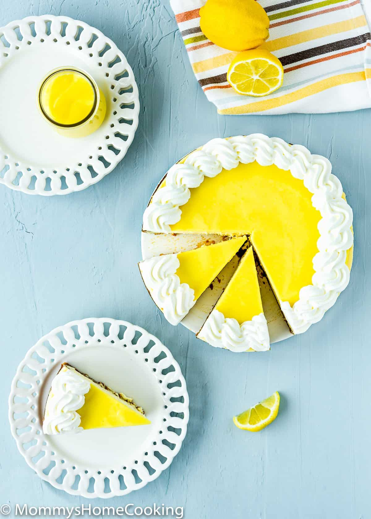 overhead view of a eggless lemon cheesecake sliced