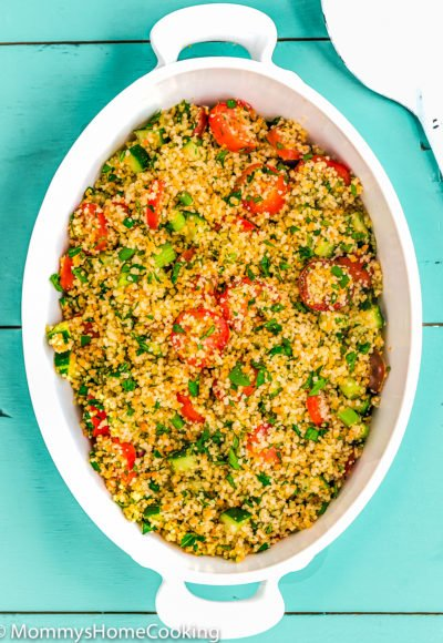 white salad bowl with Couscous Tabbouleh Salad